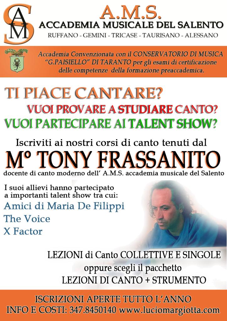 TONY FRASSANITO. Lezioni di canto, vocal coach, talent show.